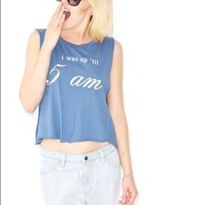 Wildfox - I Was Up Til 5am Cropped Muscle Tee